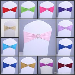 Wholesale Chair Covers Lycra Fabric - 2017 New 100pcs lot Spandex Lycra Wedding Chair Cover Sash Bands Wedding Party Birthday Chair Decoration 40 Colors Available DHL Free