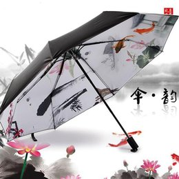 Wholesale Chinese Ink Paintings Lotus - Chinese wind umbrella fish lotus lake ten color ink painting Vinyl is prevented bask in uv sunshade umbrella