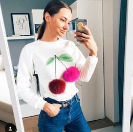 Autumn and Winter Pompon Ball 3D Ice Cream Print Woman O-neck Long Sleeve Sweatshirt Set Head Casual Slim Cotton Sweatshirt