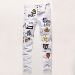Wholesale New White Mens Jeans Air Force Badge Cotton Slim Fit jeans for men Patches Distressed Ripped Embroidery Men jeans Plus size
