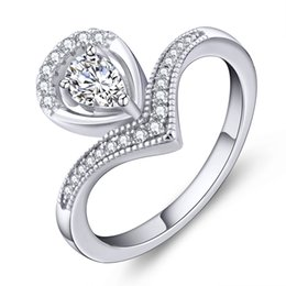 Wholesale 2016 New Arrival Design Silver Classical Jewelry Promise Ring Pear Shape with White Gold Plated for Love Gift Rings DL07020A