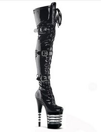 Sexy Thigh High Boots 6 Inch High Heels Fashion Platform Womens Over The Knee Boots 20cm High-Heeled Boots Pipe Dance Boots