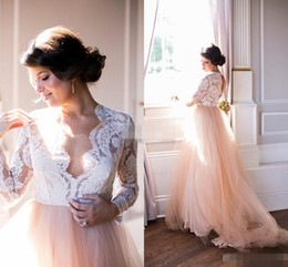 Wholesale Cheap Sexy Long Sleeve Tops - Summer 2016 Long Sleeves Wedding Dresses Lace Top Blush Chapel Train Tulle Open Back Bohemia Western Wedding Bridal Gowns Plus Size Cheap