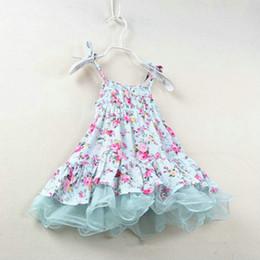 Promotion vêtements de ballet pour bébé 2016 rural Flower Suspender robe fille bretelles jupe filles dentelle tutu robe enfants ballet princesse robes été enfants vêtements cadeau