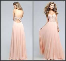 Wholesale Sweetheart Lace Applique Chiffon Prom Dresses Cheap A line Girl Party Gowns prom Occasion Wear Best Sale Evening Gowns Formal Wear