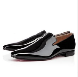 Promotion rouges à semelles chaussures habillées 2016 Design Red Sole Chaussures Hommes Flats Hommes Chaussures Habillées Chaussures en cuir verni Oxford Chaussures Weddng Zapatos Hombre Mocassins