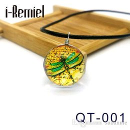 i-Remiel Dragonflies Ephemera Ferns Glass Cabochon Necklace Fashion Silver Color Jewelry Glass Statement Chain Necklace