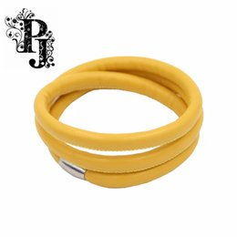 Wholesale 2016 Fashion Authentic Endless Jewelry Yellow Triple Leather Bracelet Silver Lock quot SJSB1300