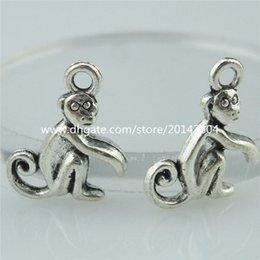 Wholesale 14369 Mini Alloy Antique Silver Vintage Cute Animal Monkey Pendant Charm