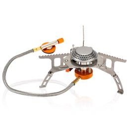 Wholesale Split Burner W Outdoor Folding Gas Stove Camping Hiking Picnic Stove with Igniter W Camping Equipment Promotion