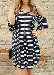 Spaghetti Strap Round Neck Stripe Print Dress hot summer casual dresses