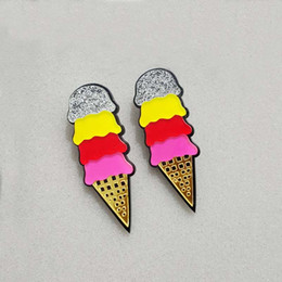 Night Club Jewelry Accessories Fashion Acrylic Punk Multi-color Ice Cream Stud Earrings For Women Hip Hop