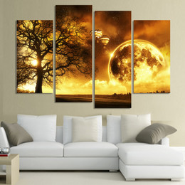 Wholesale 4 Panel ancient tree Printed Universe Space Paintings Canvas Picture Cuadros Earth Landscape Painting For Living Room No Frame