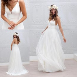 Wholesale Marie laporte Sample Sexy Spaghetti Beach Wedding Dresses Custom Make Deep V neck Backless Long Cheap Bridal Wedding Gown