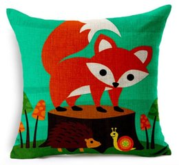 Red Beauty On the Wood Cute Fox Green Animal Art Painting Warm Pillow War Case Cover Massager Decorative Pillows Home Decor Gift