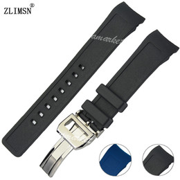 Watchbands Men Diver Curved End Black Blue Silicone Rubber Watch Bands Strap For Iwcwatch Strap Silver Black Buckle 21mm