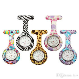 Colorful Prints watches Silicone Pocket watch Fob Quarta Watches Cute Patterns Watch Friends Gift Pin Watches