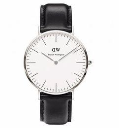 Wholesale DW Men Watch Daniel Wellington Silver Rose Gold Calendar Leather Band Fashion Quartz Wristwatch Black Brown Color