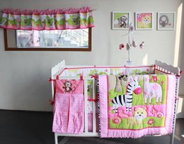Wholesale 9 PiecesCrib Bedding Baby Bedding Set Sweet Pink zoo Baby Nursery Crib Bumper Quilt Fitted Sheet Window curtain