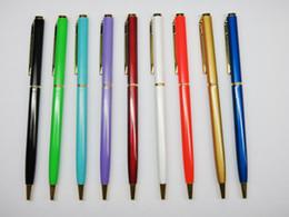 bolígrafos metal mini metal del oro de las plumas de metal delgada giro del bolígrafo pluma plumas de metal baratos con el envío libre 10piece / lot desde bolígrafo de giro fabricantes