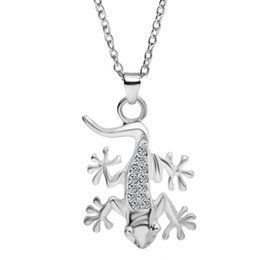 Wholesale 14pcs jewelry silver plated alloy trendy Studded full rhinestone mosaic back House lizard gecko pendant necklace women Hot x299