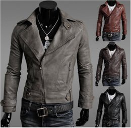Wholesale Fall new fashion men turn down collar leather coat male antique finishing PU faux leather jacket streetwear