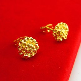 Do not fade gold earrings female hypoallergenic roses gilded imitation gold earrings wedding jewelry in Hongkong