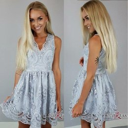2018 Baby Blue Short A Line Homecoming Dresses V Neck Full Lace Applique Mini Short Prom Dresses Cocktail Party Gowns For Graduation BA7136