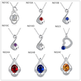 Brand new fashion women's gemstone 925 silver Necklace Pendant 10 pieces a lot mixed style,cheap sterling silver Pendant Necklaces EMN35