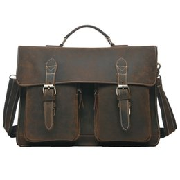 Wholesale Vintage Brown Crazy Horse Genuine Leather Men s Briefcase Men Messenger Bags Cowhide Portfolio Laptop Bag