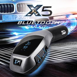 Wholesale Bluetooth Car Kit DLAND Bluetooth Wireless FM Transmitter Radio Adapter Car Charger with USB SD Card Reader and Remote Calling Functions For