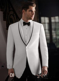 Gorgeous White Custom Groom Tuxedos Men Suits Shawl Lapel Bridegroom Wedding Business Prom Party Suits