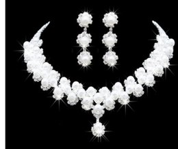 white color cystal wedding bride lady's set necklace earings hghjhgt