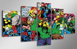 2016 фотографии панели 5 Панель HD печатных Marvel Avengers Халка Человек-паук Живопись Холст печати декор комнаты печать плаката картина холст стены плакаты доступный фотографии панели