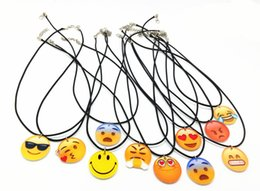Wholesale 10 Emoji Smile Leather Necklace Sets for Best Friends baby shower birthday gift