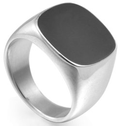 Men Size 7-15 Stainless Steel Black Onyx Enamel Signet Ring Wedding Engagement Biker Cocktail Party Husband Father Gifts