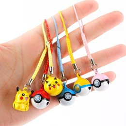 Wholesale Poke Ball Toys Jingle Bells Cell Phone Strap Charms Dangle Anime Action Figures Toy Pikachu Cartoon Model Toys Monster Keychain Decoration
