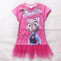 2016 Summer Zootopia Children kids girls dress Baby Girls Tulle Princess Dresses Girls Party Dresses Hot Pink Big Girls Dresses