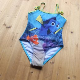 Wholesale 2016 Hot Sale Finding Dory Nemo Kids Swimsuit New Cartoon Baby Girls Printed bathing suit Summer dory Ruffle Dress Children Swimming Wear