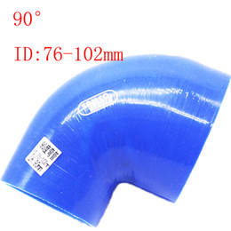 """Blue Universal ID:76mm-102mm ID:3""""-4"""" Silicone 90 Degree Elbow Reducer Turbo Pipe Hose Air Intake Pipe Intercooler silicone pipe Universal"""
