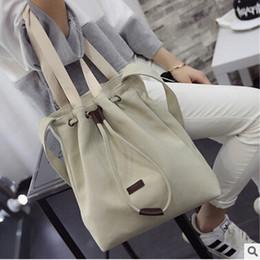 2016 new Korean girl bag canvas bag sun drawstring bucket bag shoulder messenger bag