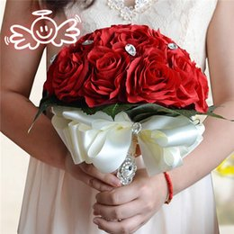 2017 New Crystal Bridal Bouquet Burgundy Red Rose Fabric Artificial Durable Wedding Flower Bridesmaid Hand Flower