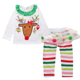 Descuento polainas de la falda caliente 2016 La nueva ropa caliente de los niños de la Navidad arropa los equipos rayados para los cabritos ciervos Tshirt + tutu Las polainas de las faldas 2 PC fijaron el juego de la muchacha