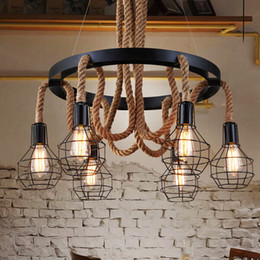 Luxury retro rope industrial pendant lights edison vintage hanging lamp Restaurant Living bar Light American Style