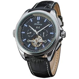 Wholesale Forsining Mens Automatic Watch Calendar Multifunctional Mechanical Watches Leather Watchband Flywheel Men Luxury