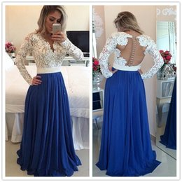Long Sleeves Lace Pearls Chiffon Prom Dresses V Neck A Line White and Blue Evening Gown