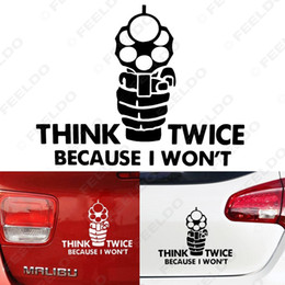 Wholesale 10 x Auto Think Twice Carry On Because i Won t Car Window Bumper Reflective Sticker Decal Styling White Black