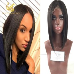 Wholesale Short Bobbed Hairstyles - Glueless Full Lace Bob Wig Full Lace Human Hair Short Bob Wigs Straight Bob Lace Front Wigs Human Hair U Part Bob Wig
