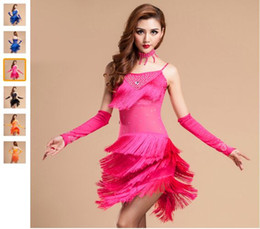 Latin Dance Costume 3piece (Dress+Necklace+Gloves) Regatas Femininas Orange Black Rose Red Fitness Clothes Free Shipping