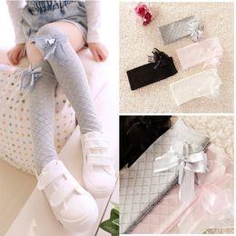 Wholesale 2016 New Spring Autumn Girls Ballet Dancing Stockings Kids Children Cotton Tights Baby Plaid Stockings Princess Bow Socks